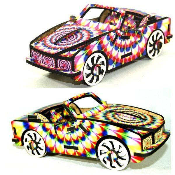 puzzle 3d cabriolet rose verte