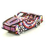 puzzle 3d en bois coloré voiture rose