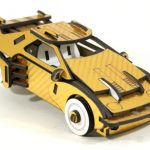 DeLorean carbone 3D doré