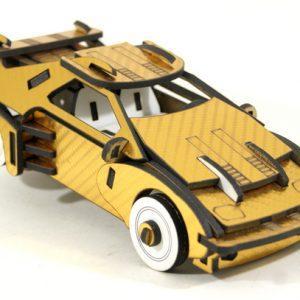 DeLorean carbone 3D doré