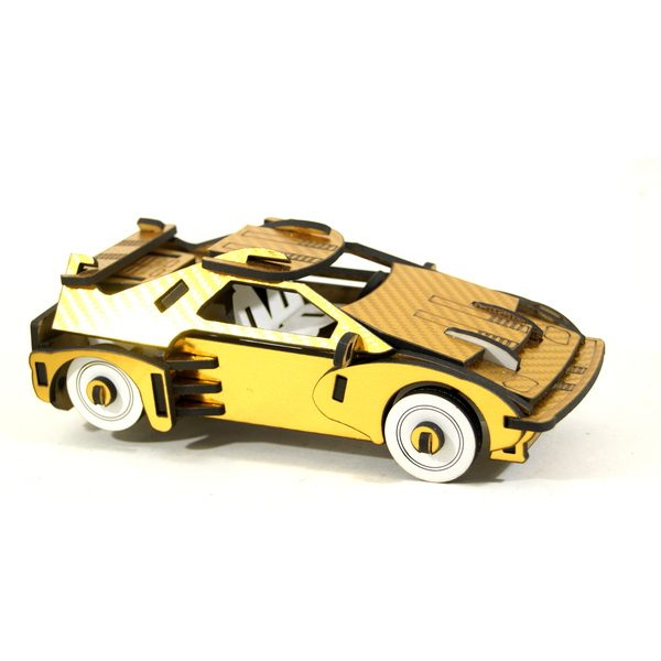 puzzle 3d delorean carbone doree
